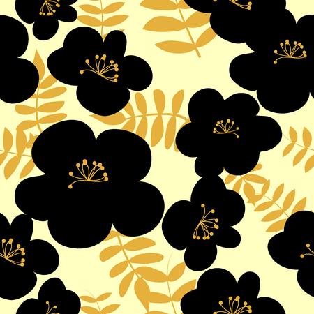Vector drawn black flowers seamless pattern on light background. Fabric, package design idea. Иллюстрация