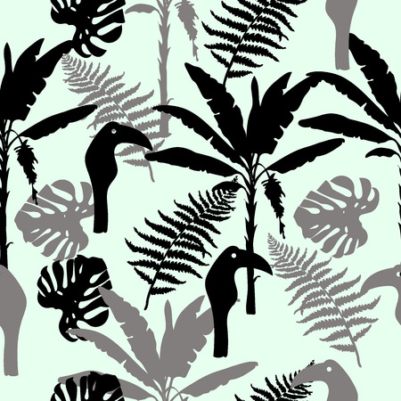 Seamless hand drawn botanical exotic vector pattern with silhouette palm trees and leaves on light background.