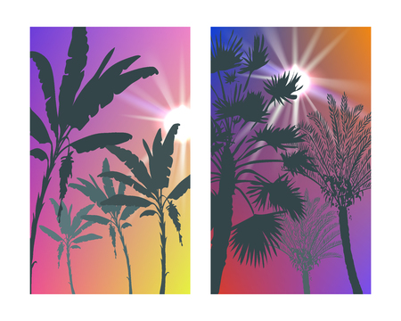 Summer tropical backgrounds set with palms, sky and sunset. Summer placard poster flyer invitation card. Summertime. Иллюстрация