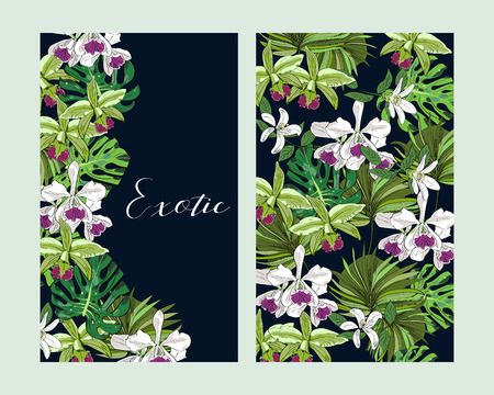 Floral greeting invitation card template design, tropical exotic flowers and palm leaves on dark blue background. Package design.