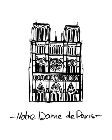 Notre Dame de Paris, France vector isolated hand drawn ink illustration in black color on white background. Иллюстрация