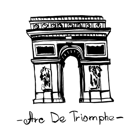Triumphal Arch Landmark of Paris, France vector isolated hand drawn ink illustration in black color on white background.