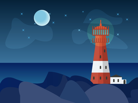 Vector drawn lighthouse at night with rocks and sea, stars and the Moon.