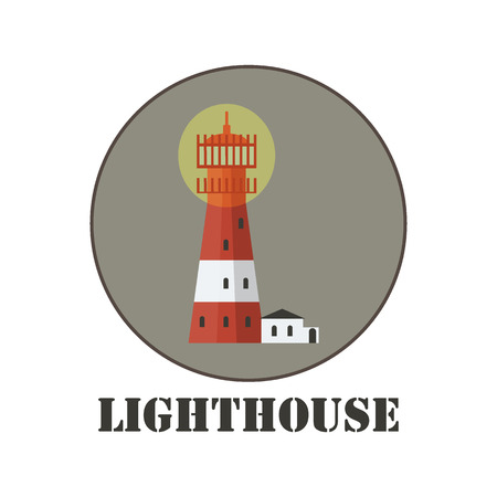 Vector drawn lighthouse on grey circle. Logo design template. Иллюстрация