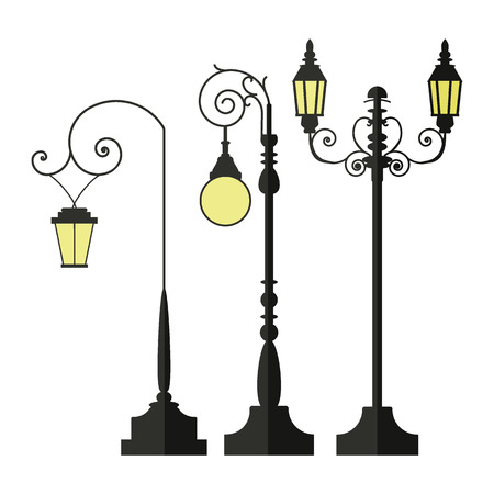 A set of vintage street lamps for roads and parks. A set of antique decorative lamps. Industrial electric objects. Flat vector illustration. Isolated on white background. Иллюстрация