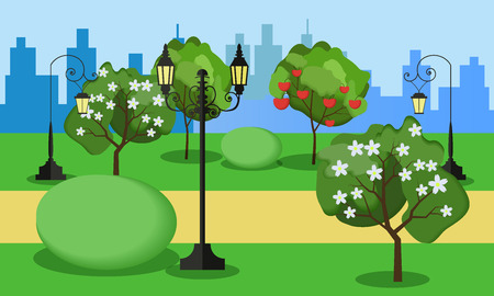 Vector illustration of a beautiful fall city park with bright blooming trees