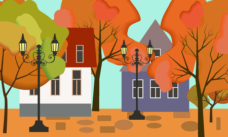 Vector illustration of a beautiful fall city park with bright foliage trees Иллюстрация