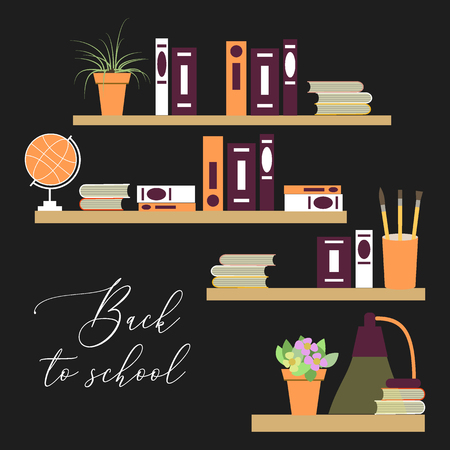 Back to school vector background with books, table lamp, potted flowers and shelves.