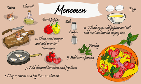 Step by step recipe of menemen. Turkish cuisine. Omelette with vegetables. Vector illustration. Stock Illustratie