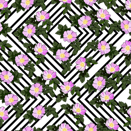 Vector drawn rose hip flowers with leaves seamless pattern on striped background. Fabric, package design idea.