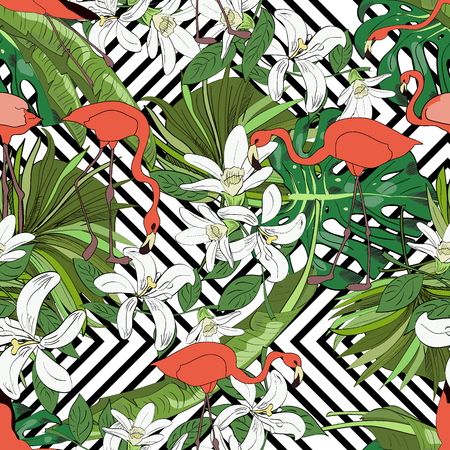 Tropical seamless pattern, orchids, monstera leaves, fan palm leaves and flamingoes on striped background. Hand drawn illustration.