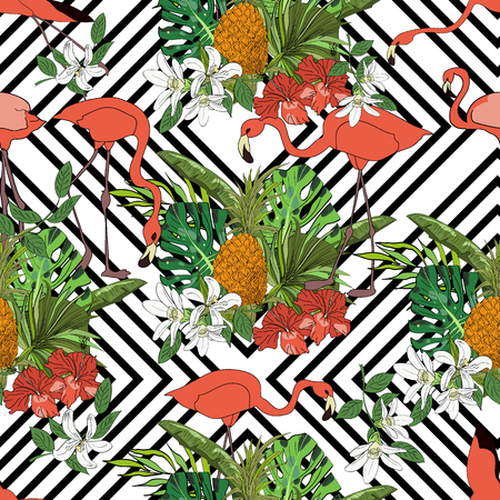 Tropical seamless pattern, orchids, monstera leaves, fan palm leaves, pineapples and flamingoes on striped background. Hand drawn illustration.