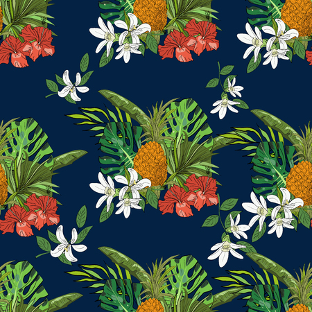 Tropical seamless pattern, pineapples, monstera leaves, fan palm leaves, on dark blue background. Hand drawn illustration.