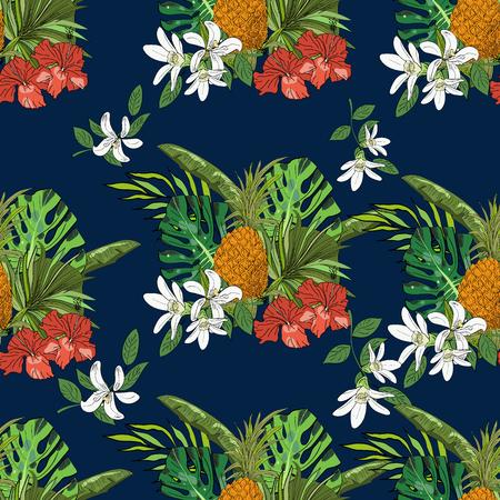 Tropisches nahtloses Muster, Ananas, Monsterblätter, Fächerpalmenblätter, auf dunkelblauem Hintergrund. Hand gezeichnete Illustration.