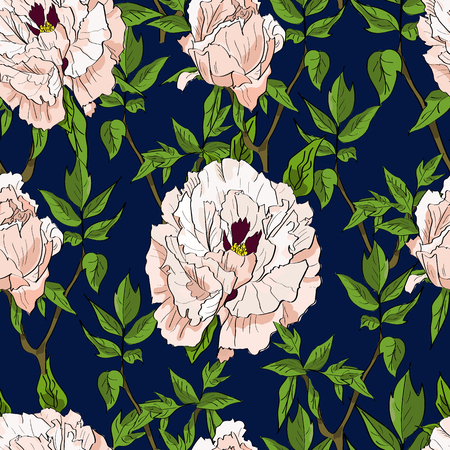 Floral seamless pattern with white peonies and leaves on dark blue background. Hand drawn illustration.