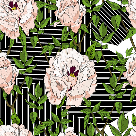 Floral seamless pattern with white peonies and leaves on striped geometrical background. Hand drawn illustration.