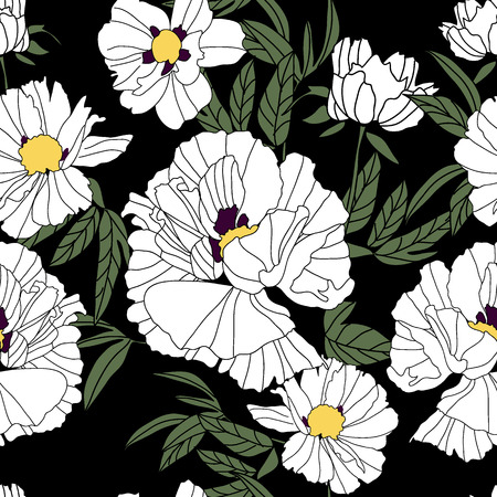Floral seamless pattern with white peonies and leaves on black background. Hand drawn illustration.
