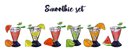 Colorful Set of smoothies. Superfoods and health or detox diet food concept in sketch style. Orange, grapefruit, strawberry, lime, lemon, watermelon smoothies. Иллюстрация