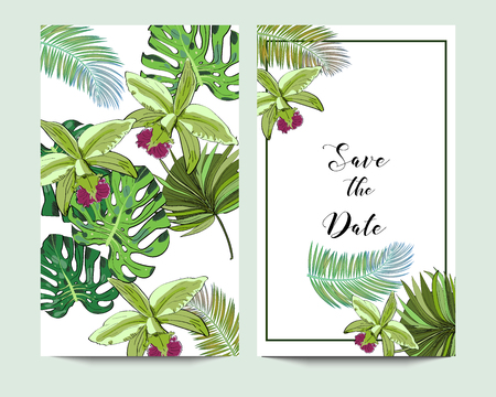 Vector drawn save the date card with tropical bergamot flowers and palm leaves. Иллюстрация