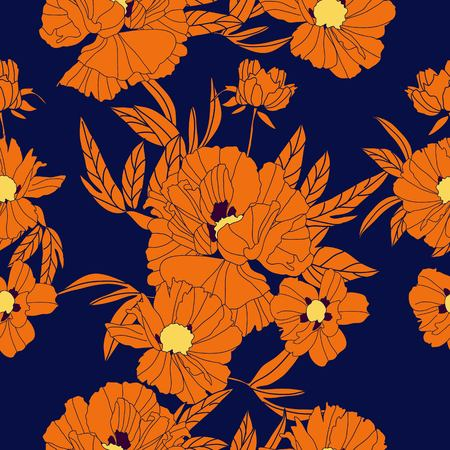 Floral seamless pattern with orangee peonies and leaves on blue background. Hand drawn illustration.