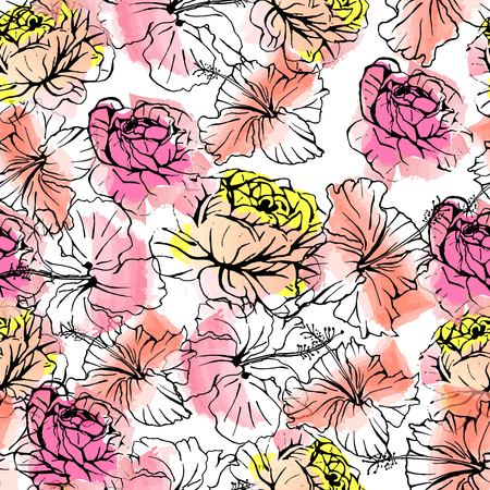 Seamless vector summer pattern of hand drawn ink roses and hibiscus flowers on watercolor background. Fashion, pattern, journaling, logo, design, brand concept Фото со стока - 110354206