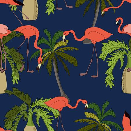 Tropical seamless pattern, with bottle and coconut palms and flamingoes on blue background. Hand drawn illustration.