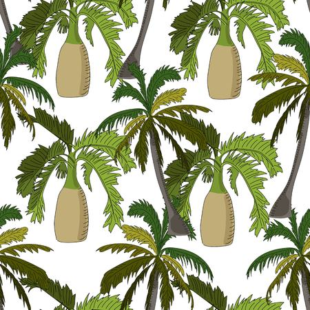 Tropical seamless pattern, with bottle and coconut palms on white background. Hand drawn illustration.