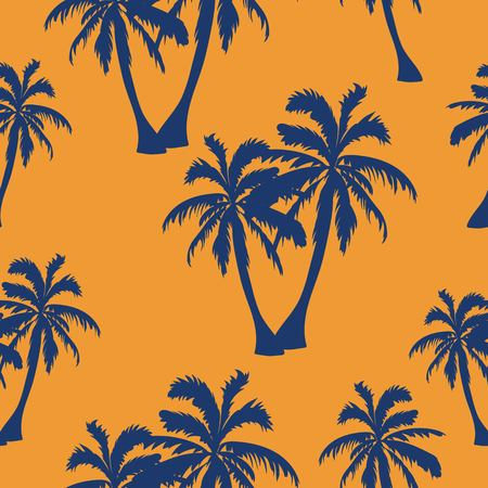 Seamless hand drawn botanical exotic vector pattern with silhouette coconut palm trees orange background.
