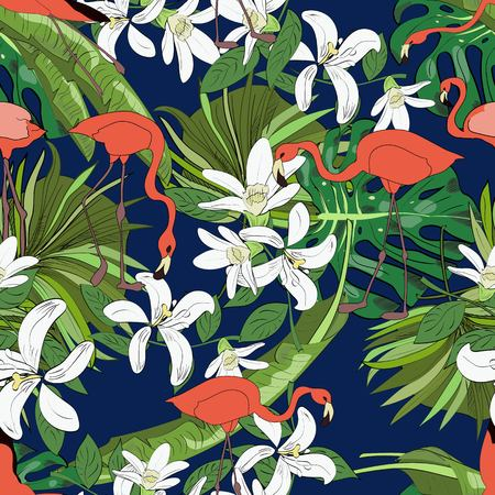 Tropical seamless pattern, orchids, monstera leaves, fan palm leaves and flamingoes on blue background. Hand drawn illustration.