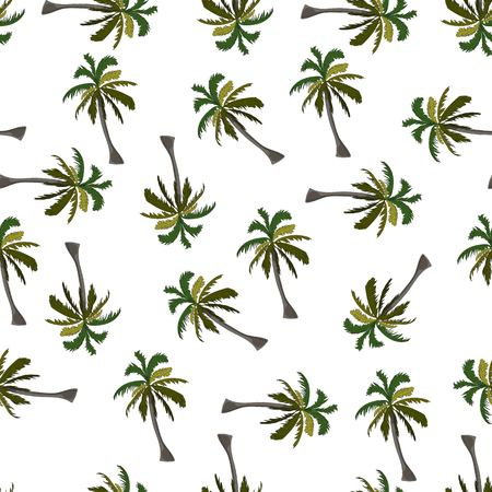 Coconut palm sketch seamless pattern on white background. Иллюстрация