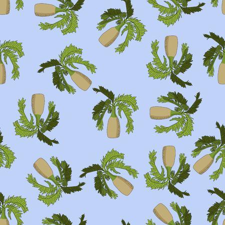 Bottle palm sketch seamless pattern on blue background. Illustration