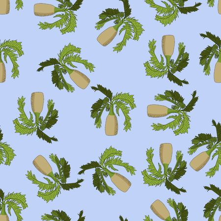 Bottle palm sketch seamless pattern on blue background. Иллюстрация