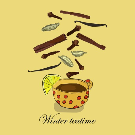 Winter teatime background with hand drawn spices and cup of tea.