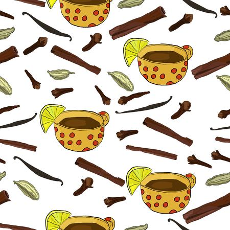 Winter teatime seamless pattern with hand drawn spices and cup of tea. Фото со стока - 110240252