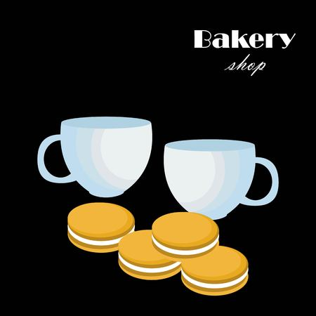 Tea cups and cookies flat icon vector. Cookies and tea cup vector.