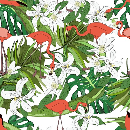 Tropical seamless pattern, orchids, monstera leaves, fan palm leaves and flamingos on white background. Hand drawn illustration. Иллюстрация