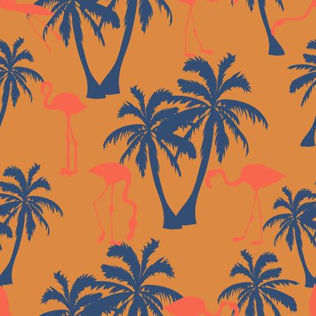 Seamless hand drawn botanical exotic vector pattern with silhouette coconut palm trees and flamingos on orange background.