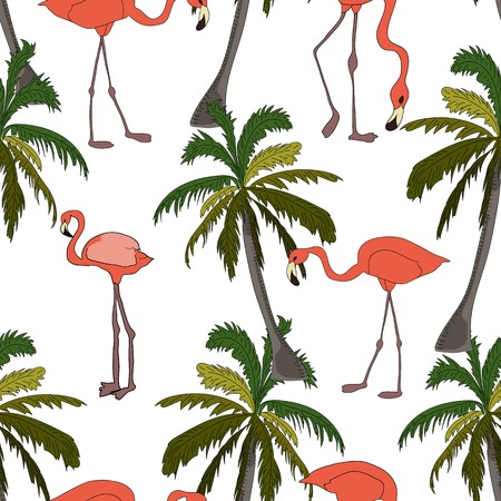 Coconut palm and flamingos sketch seamless pattern on white background.
