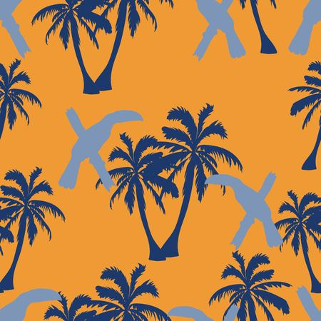 Seamless hand drawn botanical exotic vector pattern with silhouette coconut palm trees and toucans on orange background.