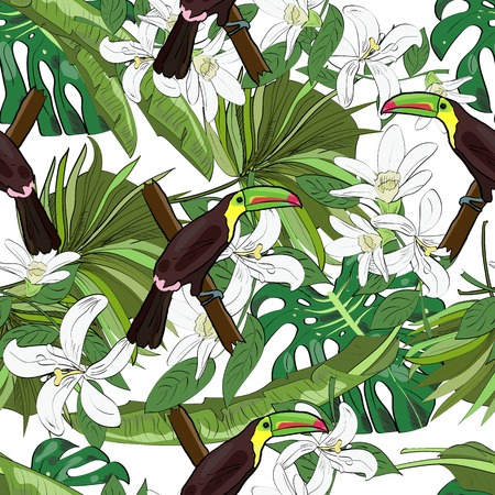 Tropical seamless pattern, orchids, monstera leaves, fan palm leaves and toucans on white background. Hand drawn illustration.
