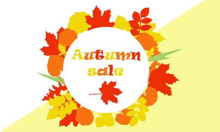 Colorful autumn foliage vector sale banner. Discount design. Иллюстрация