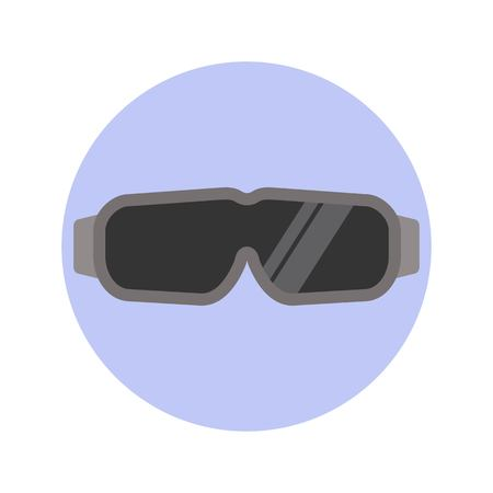 Safety goggles glasses isolated on blue background. Flat styled vector illustration. Иллюстрация