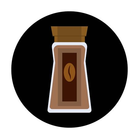 Coffee glass jar icon. Instant coffee granules flat design