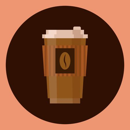 Coffee cup vector illustration isolated on brown background. Plastic coffee cup with hot coffee in flat style Фото со стока - 110028315