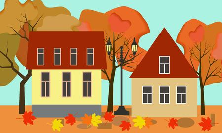 Vector autumn illustration of a beautiful fall cottage houses with bright foliage trees