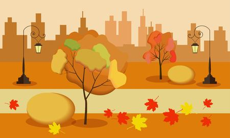 Vector illustration of a beautiful autumn city park with town building background.