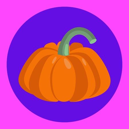Pumpkin vegetable vector flat illustration in violet circle.
