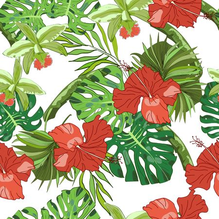 Tropical seamless pattern, orchids, monstera leaves, fan palm leaves and hibiscus on white background. Hand drawn illustration.
