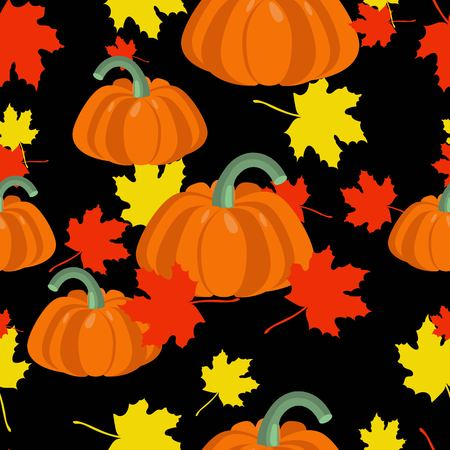 Autumn leaves and pumpkins seamless pattern. Seasonal floral maple leaves with gourds for thanksgiving holiday, harvest decoration vector design.