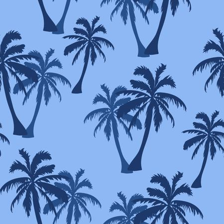 Seamless hand drawn botanical exotic vector pattern with silhouette coconut palm trees light blue background.